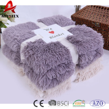 100% polyester promotion solid long pile fake fur winter blankets