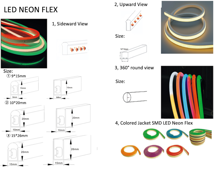 LED neon flex shape and size