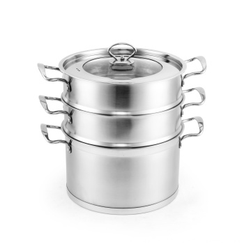 2 layer high quality stainless steel steamer soup pot /optima steamer with glass lid double boiler