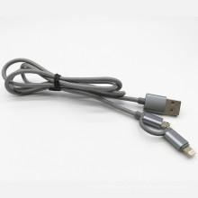 2 в 1 нейлон тканые зарядный кабель данных USB