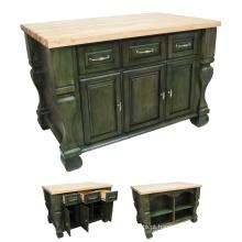 Ilha de cozinha de madeira maciça de uso doméstico de alta qualidade