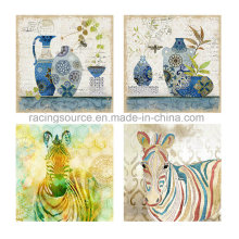 Animal pintado a mano pintado a mano de la lona del aceite para la decoración casera
