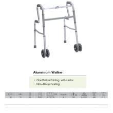 Caminante plegable de un botón con ruedas
