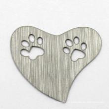 Simple Heart placas de grãos de aço inoxidável para vidro Locket