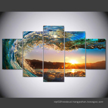 5 Panels Butterflies Waves Picture Wall Decor Print on Canvas Oil Painting Canvas Painting for Christmas Gift Mc-161