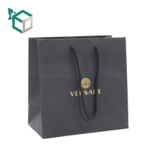 High end silk laminated FSC certificated black printed art paper shopping bags with string handle