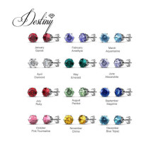 Free Jewelry Box 12 Months Birthstone Solitaire Earrings