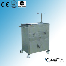 Chariot d'urgence médical d'hôpital en acier inoxydable (Q-21)