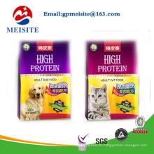 Novo produto Padrão personalizado Printed Plastic Ziplock Flat Bottom Pet Food Bag