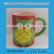 Tasse de café en céramique de hibou populaire, tasse de thé en céramique pour le commerce de gros