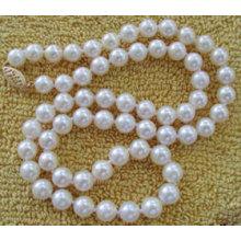 8-9mm runde natürliche Süßwasser kultivierte Perlen Halskette Schmuck