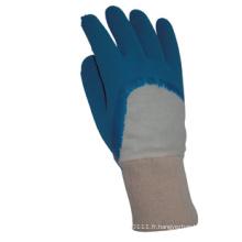 Économie tricot poignet ouvert arrière bleu gants de travail en latex (5211)