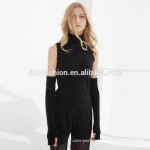 Черные стильные женские длинные перчатки без пальцев утолщение кашемир перчатки