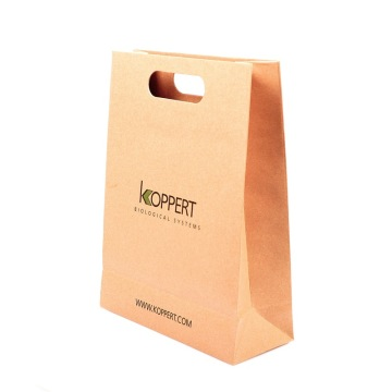Bottom price for Kraft Paper Tote Bag Mold Cut Handle Paper Bag with Printed LOGO supply to Italy Importers