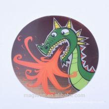 2016 popular dinosaur design round shape paper fridge magnets for gifts