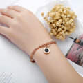 Rose Gold Multi Chain Roman Numeral Pulseira Womens