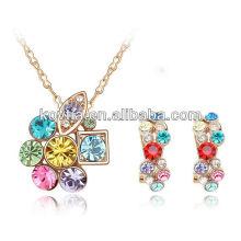 Bride favorite colourful crystal diamond wedding jewelry set