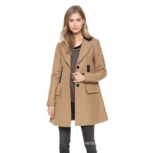 Vince Beige Wool Blend Winter Outerwear Ct001 With Hight Grade Leather , 40% Polyester For Woman