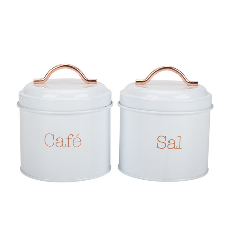 Kitchen canister with golden lid