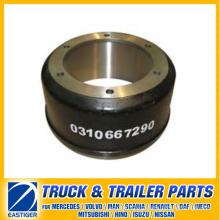 Peças de reboque do tambor de travão 0310667290 para BPW