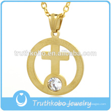 Gold Plated Stainless Steel Ring Pendant Inside Big Rhinestone Cross Pendant Jewelry