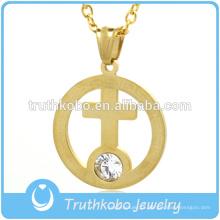 Pingente de anel de aço inoxidável banhado a ouro dentro grande strass cruz pingente de jóias