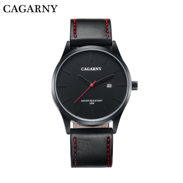 6865 Fashion Mens Wristwatch at 42mm Case Leather Strap