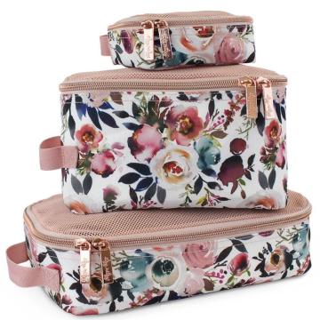Stylish Three Pieces Set Canvas Mesh Diaper Bag Custom Storage Bag With Logo