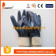 Blue Nitrile Fully Coating Glves. Cotton/Jersey Liner Gloves (DCN406)