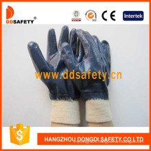 Blue Nitrile Fully Coating Glves with Cotton or Jersey Liner Gloves Dcn406