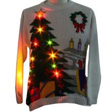 16PKCS08 adultos natal camisola de Natal com luzes LED