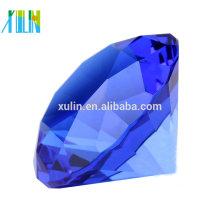 Grands bijoux géants de diamant géant de coupe de presse-papier en cristal de cobalt de 60mm avec la décoration de mariage