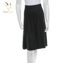 Женская Черная теплая зимняя юбка из шерсти вязаная юбка