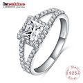 Hearts&Arrows Square Zircon 925 Sterling Silver Women′s Ring (SRI0009-B)