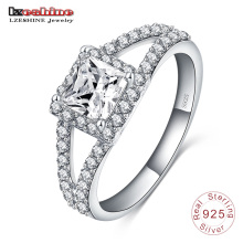 Hearts&Arrows Square Zircon 925 Sterling Silver Women′s Ring (SRI0009-B)