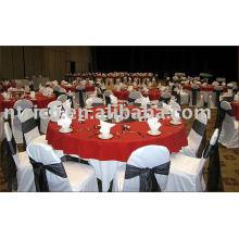 100 % polyester chaise housses, housses de chaise hôtel/banquet, ceinture en Satin de chaise