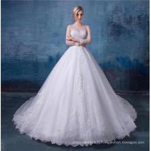 Boho pays mariage robe manches longues une ligne bijou dentelle Boho robes de mariée 2018