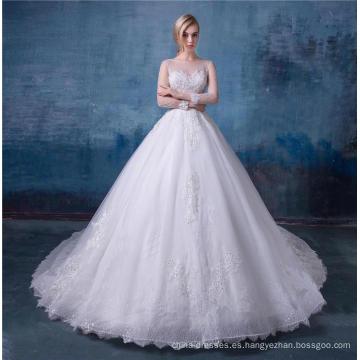 Boho Country vestido de novia mangas largas una línea joya encaje boho vestidos de novia 2018