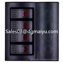 Caravan Combined Automotive Switch 4 Gang Panel de interruptor basculante con LED rojo