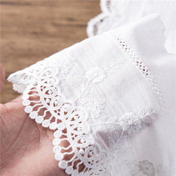 Eco-friendly white Wave Lace Embroidery Fabric