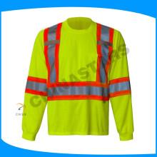 100% Baumwolle hi viz Hemd fluoreszierende gelbe reflektierende Arbeit Hemden mit grauem Band