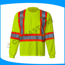100% algodón hola viz camisa fluorescente amarillo camisas de trabajo reflexivo con cinta gris