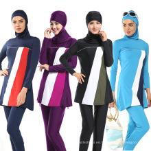 Aseguramiento de la calidad 85% Nylon 15% Spandex tela islámica ropa traje de baño al por mayor mujeres traje de baño musulmán
