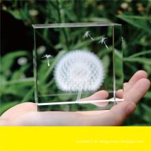 Peso de papel de cristal da planta da gravura do laser 3D para a lembrança (KS13583)