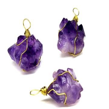 Unpolished Natural Raw Druzy Amethyst Cluster Wrapped Crystal Pendant