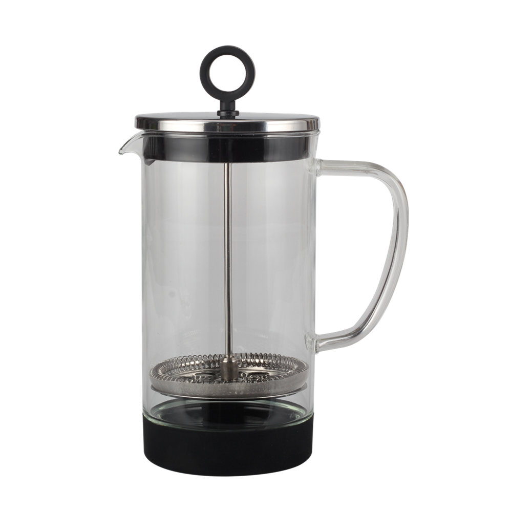 glass French press with silicone base