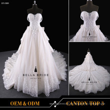 Champagne Tulle brillante romántico appliqued rebordear vestido de boda de tul con srystal