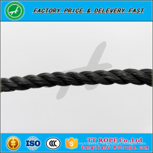 3 strands 5mm black color pp recycled rope