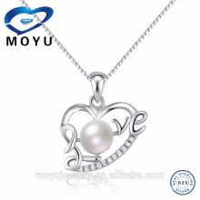 2015 commerce de gros de perles naturelles pendentifs en argent sterling