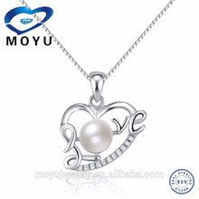 2015 wholesale fashion natural pearl pendants sterling silver